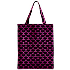 Scales3 Black Marble & Pink Brushed Metal (r) Zipper Classic Tote Bag by trendistuff