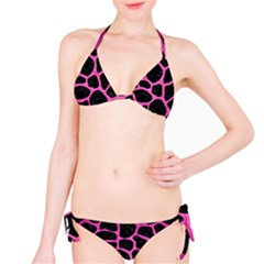 Skin1 Black Marble & Pink Brushed Metal Bikini Set by trendistuff
