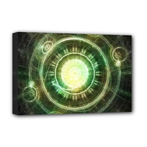 Green Chaos Clock, Steampunk Alchemy Fractal Mandala Deluxe Canvas 18  X 12   by jayaprime