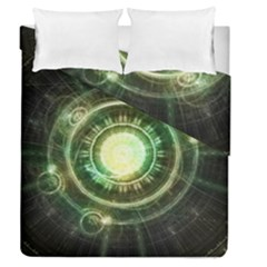 Green Chaos Clock, Steampunk Alchemy Fractal Mandala Duvet Cover Double Side (queen Size) by jayaprime