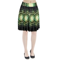 Green Chaos Clock, Steampunk Alchemy Fractal Mandala Pleated Skirt by jayaprime