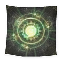Green Chaos Clock, Steampunk Alchemy Fractal Mandala Square Tapestry (large) by jayaprime