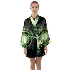Green Chaos Clock, Steampunk Alchemy Fractal Mandala Long Sleeve Kimono Robe