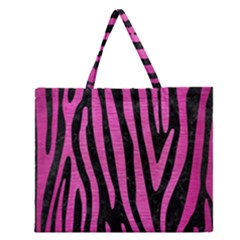 Skin4 Black Marble & Pink Brushed Metal Zipper Large Tote Bag by trendistuff