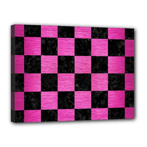 Square1 Black Marble & Pink Brushed Metal Canvas 16  X 12  by trendistuff