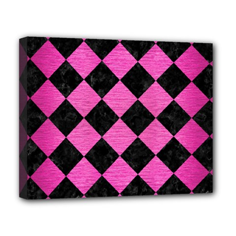 Square2 Black Marble & Pink Brushed Metal Deluxe Canvas 20  X 16   by trendistuff