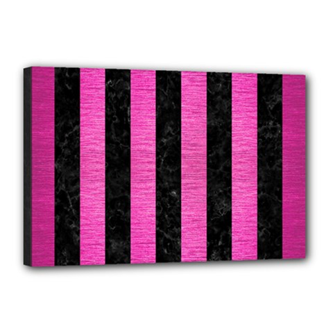 Stripes1 Black Marble & Pink Brushed Metal Canvas 18  X 12  by trendistuff