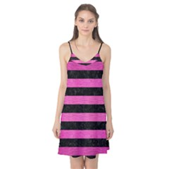 Stripes2 Black Marble & Pink Brushed Metal Camis Nightgown