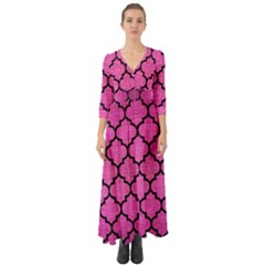 Tile1 Black Marble & Pink Brushed Metal Button Up Boho Maxi Dress