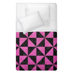 Triangle1 Black Marble & Pink Brushed Metal Duvet Cover (single Size) by trendistuff