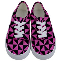 Triangle1 Black Marble & Pink Brushed Metal Kids  Classic Low Top Sneakers