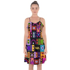 Abstract A Colorful Modern Illustration Ruffle Detail Chiffon Dress by Celenk
