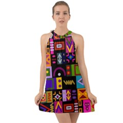 Abstract A Colorful Modern Illustration Halter Tie Back Chiffon Dress by Celenk