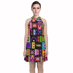 Abstract A Colorful Modern Illustration Velvet Halter Neckline Dress