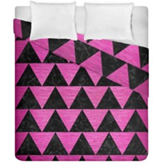 Triangle2 Black Marble & Pink Brushed Metal Duvet Cover Double Side (california King Size) by trendistuff