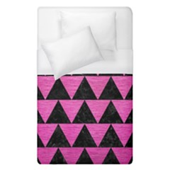 Triangle2 Black Marble & Pink Brushed Metal Duvet Cover (single Size) by trendistuff