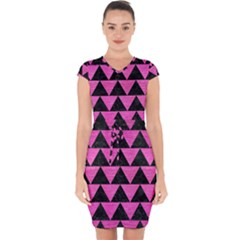 Triangle2 Black Marble & Pink Brushed Metal Capsleeve Drawstring Dress