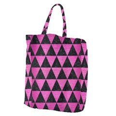 Triangle3 Black Marble & Pink Brushed Metal Giant Grocery Zipper Tote by trendistuff