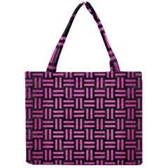 Woven1 Black Marble & Pink Brushed Metal (r) Mini Tote Bag by trendistuff