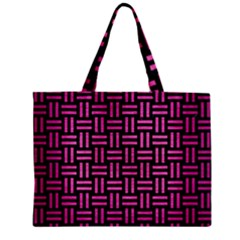 Woven1 Black Marble & Pink Brushed Metal (r) Zipper Mini Tote Bag by trendistuff