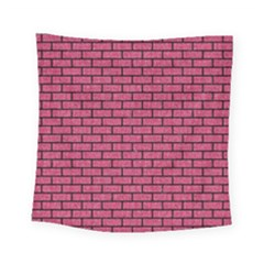 Brick1 Black Marble & Pink Denim Square Tapestry (small) by trendistuff