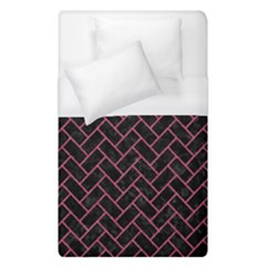 Brick2 Black Marble & Pink Denim (r) Duvet Cover (single Size) by trendistuff
