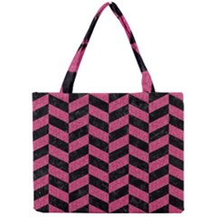 Chevron1 Black Marble & Pink Denim Mini Tote Bag by trendistuff