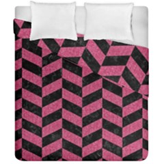 Chevron1 Black Marble & Pink Denim Duvet Cover Double Side (california King Size) by trendistuff