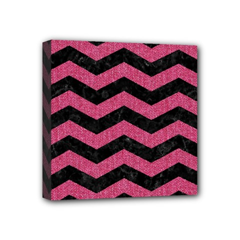 Chevron3 Black Marble & Pink Denim Mini Canvas 4  X 4  by trendistuff