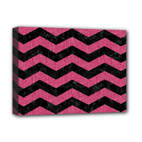 Chevron3 Black Marble & Pink Denim Deluxe Canvas 16  X 12   by trendistuff