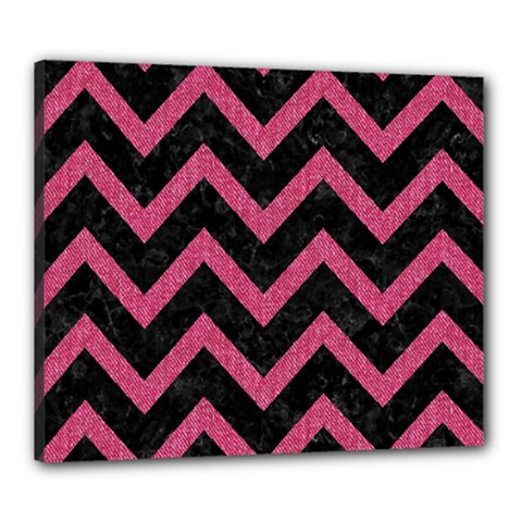 Chevron9 Black Marble & Pink Denim (r) Canvas 24  X 20