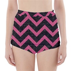 Chevron9 Black Marble & Pink Denim (r) High Waisted Bikini Bottoms by trendistuff