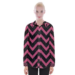 Chevron9 Black Marble & Pink Denim (r) Womens Long Sleeve Shirt