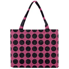 Circles1 Black Marble & Pink Denim Mini Tote Bag by trendistuff