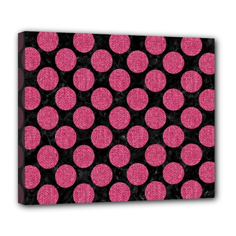 Circles2 Black Marble & Pink Denim (r) Deluxe Canvas 24  X 20   by trendistuff