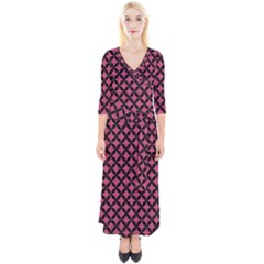 Circles3 Black Marble & Pink Denim Quarter Sleeve Wrap Maxi Dress