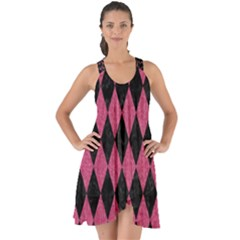 Diamond1 Black Marble & Pink Denim Show Some Back Chiffon Dress