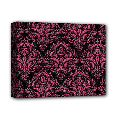 Damask1 Black Marble & Pink Denim (r) Deluxe Canvas 14  X 11  by trendistuff