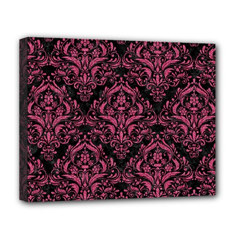 Damask1 Black Marble & Pink Denim (r) Deluxe Canvas 20  X 16   by trendistuff
