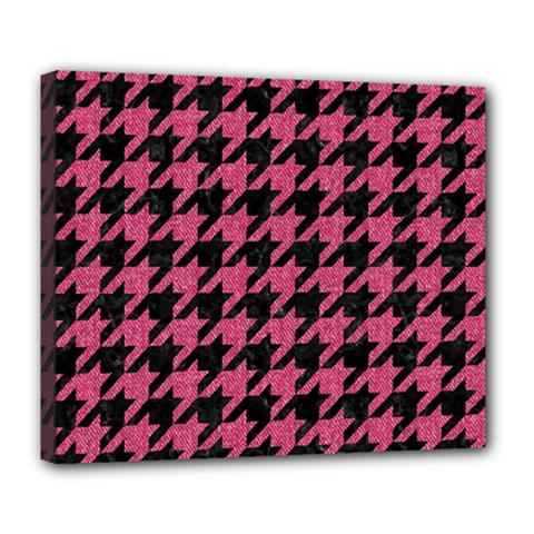 Houndstooth1 Black Marble & Pink Denim Deluxe Canvas 24  X 20   by trendistuff