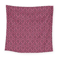 Hexagon1 Black Marble & Pink Denim Square Tapestry (large) by trendistuff