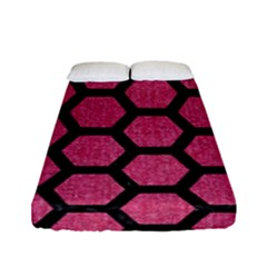 Hexagon2 Black Marble & Pink Denim Fitted Sheet (full/ Double Size) by trendistuff