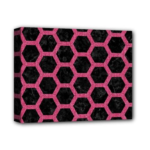 Hexagon2 Black Marble & Pink Denim (r) Deluxe Canvas 14  X 11  by trendistuff