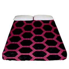 Hexagon2 Black Marble & Pink Denim (r) Fitted Sheet (california King Size) by trendistuff