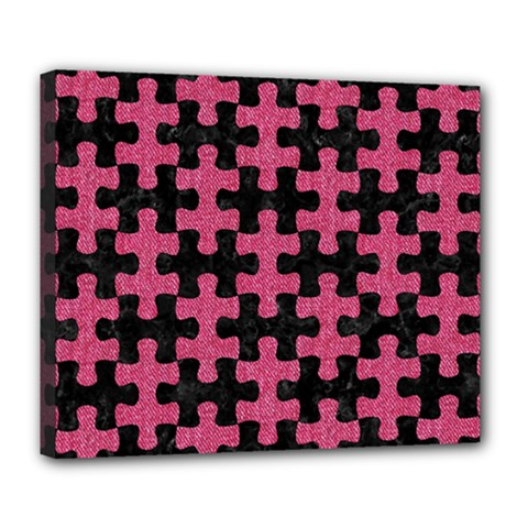 Puzzle1 Black Marble & Pink Denim Deluxe Canvas 24  X 20   by trendistuff