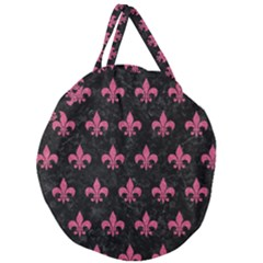 Royal1 Black Marble & Pink Denim Giant Round Zipper Tote by trendistuff
