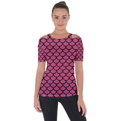 Scales1 Black Marble & Pink Denim Short Sleeve Top