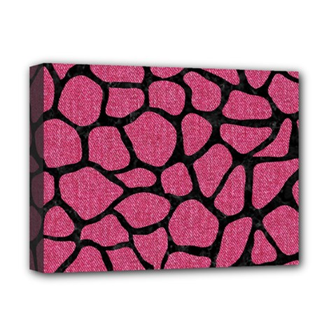 Skin1 Black Marble & Pink Denim (r) Deluxe Canvas 16  X 12   by trendistuff