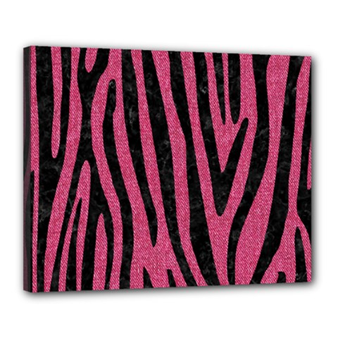 Skin4 Black Marble & Pink Denim (r) Canvas 20  X 16  by trendistuff