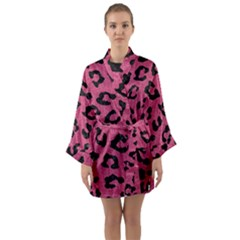 Skin5 Black Marble & Pink Denim (r) Long Sleeve Kimono Robe